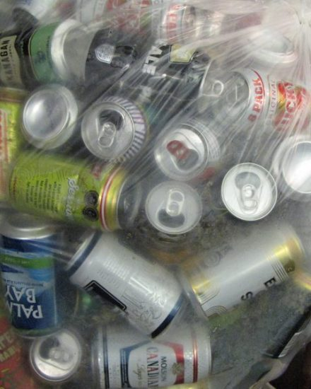 aluminum pop and beer cans